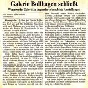 Galerie Bollhagen schließt